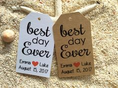10 Kraft Gift Tags Wedding Favour Bomboniere Personalised BEST DAY EVER