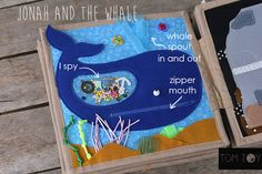Bible quiet book, church busy book, handmade fabric Bible story Jonah and the Whale