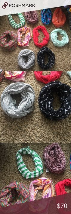 10 Scarves for Sale🛍 I'm looking to either sell this bundle of scarves at once, or break it up and do two or three scarves at a time. Not looking to sell individual scarves at once. A lot of these haven't been worn much, some of them have been worn a few times, but all are in great shape. Some are from Nordstrom, Forever 21, Charlotte Russe, Target & elsewhere. If you have questions or want more pictures of the scarves let me know. The price right now is for all 10! 2 for 14 or 3 for 21…