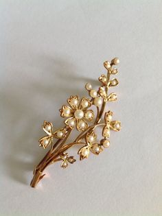 Fine Victorian 15ct Gold Natural Seed Pearl Set Floral Spray Brooch - Circa 1890 in Jewellery & Watches, Vintage & Antique Jewellery, Vintage Fine Jewellery, Victorian (1837-1901) | eBay