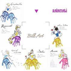 姫たち . #手形アート #billart #プリンセス #princess #ラプンツェル #シンデレラ #白雪姫 #オーロラ姫  #エルサ #アナ雪 #ベル #Rapunzel #Cinderella #snowwhite #Aurora #Elsa #frozen #Bell ▼ #salamati #サラマティ 台紙あります✨