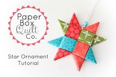 Inside The Paper Box: Star Ornament Tutorial (fabric folding) Folded Fabric Ornaments, Quilted Ornaments, Holiday Ornaments, Holiday Crafts, Christmas Sewing, Christmas Projects, Christmas Wrapping, Christmas Ideas, Christmas Decorations
