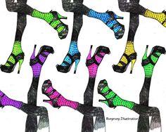 Fashion illustration High heels wall art by RongrongIllustration #fashionillustration #fashionwallart #fashionsketch #shoeart #shoesketch #colorfulshoes