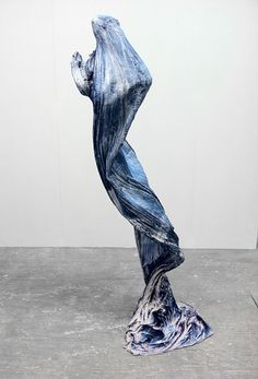 "Brie Ruais ""Holding a Space for Appearace: Crumpled "" (Instructions: Hold a plaster-soaked length of fabric up until the plaster sets, 30 minutes)"", 2012 Plaster, fabric, dye 30 "" x 40 "" x 70 """