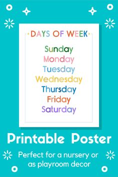 A fun and colourful poster that would be perfect in any kid's playroom or as bedroom and nursery decor. The printable would also be a great tool for any classroom, whether it be homeschooling or a primary / elementary school. Not only would it look cute, but also be a fun learning tool. It comes in multiple sizes and a custom sizing can be requested. Great gift for parents or teachers! Easy digital download, makes it simple to print at home :) Colorful Playroom, Playroom Art, Learning Tools, Fun Learning, Sunday To Saturday, Classroom Posters, Printable Wall Art, Homeschooling, Nursery Decor