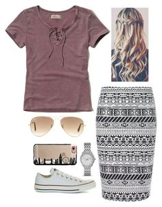 A fashion look from September 2016 by featuring Hollister Co., Ally Fashion, Converse, FOSSIL, Ray-Ban and Casetify Cute Modest Outfits, Modest Dresses, Skirt Outfits, Classy Outfits, Plus Size Outfits, Fall Outfits, Casual Outfits, Cute Fashion, Modest Fashion