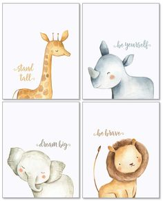 Confetti Fox Safari Baby Animals Nursery Wall Art Decor – Unframed Set of 4 Prints – Boy Girl Kids Watercolor Quotes Bedroom Bathroom Decorations – Giraffe Rhino Elephant Lion – wall decoration Bloğ Baby Animal Nursery, Newborn Nursery, Safari Nursery, Nursery Prints, Girl Nursery, Nursery Drawings, Elephant Nursery Art, Fox Nursery, Nursery Artwork