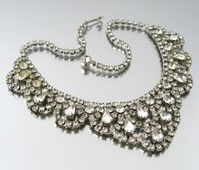 Vintage WEISS 1950s Signed Clear Rhinestone Bib Necklace