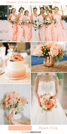 9 Prettiest Shades of Pink Wedding Color Ideas - Peach Pink Coral Wedding Ideas for your Wedding at The Orchard at Chesfield Peach Wedding Theme, Romantic Wedding Colors, Pink Wedding Colors, Dusty Rose Wedding, Wedding Color Schemes, Wedding Day, Wedding Coral, Peach Wedding Dresses, Wedding Theme Ideas Unique