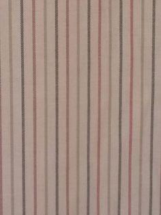 "12M Soft Woven Cream/Pale Green/Dark Green/Red Stripe Cotton Fabric 54"" Wide"