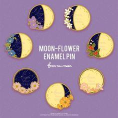 Moon and flowers. Hallowen Ideas, Bag Pins, Jacket Pins, Cool Pins, Metal Pins, Pin And Patches, A 17, Pin Badges, Lapel Pins