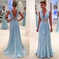 blue Prom Dresses,V-neck prom dress,charming prom Dress,chiffon prom dress,formal prom gown,BD2410