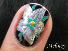 Nail Art Tutorial - Space Lily Silver White Flower Floral Design for short nails Homemade DIY video
