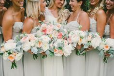 white pink peach and grey green sage bouquets | rose dahlias | Photography: Emily Blake Photography - emilyblakephoto.com Read More: http://www.stylemepretty.com/2015/03/01/traditionally-elegant-la-jolla-wedding/