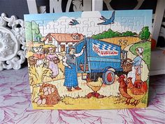 French Vintage Advertising Puzzle LUSTUCRU 1950s by sweetbrocante