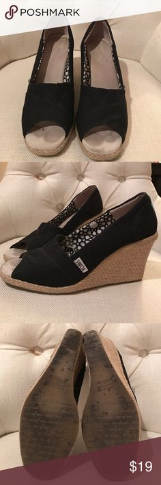 TOMS espadrilles Black wedge espadrilles by TOMS TOMS Shoes Wedges