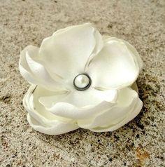 Simple White Bridal Flower Satin Fabric by InspiredGreetingsAD, $7.50