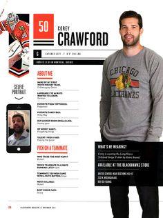 50 // COREY CRAWFORD - Blackhawks Magazine surveys 2014-15