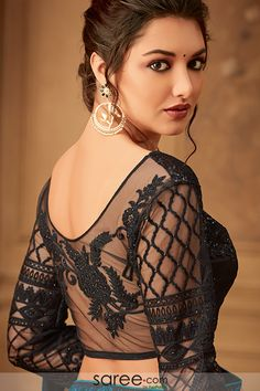 Black Sheer Back Embroidered Blouse Design Black Blouse Designs, Saree Blouse Neck Designs, Saree Hairstyles, Stylish Blouse Design, Saree Look, Sexy Blouse, Indian Wedding Outfits, Indian Beauty Saree, Beautiful Saree