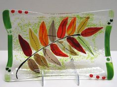 Multi-color fall leaf glass dish. Make your own at Arts & Glass http://www.iloveartsandglass.com