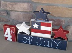 4th of JULY BLOCKS with stars and flag blocks for table decor, desk, shelf, mantle, and party decor on Etsy, $26.95