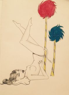 Dr Seuss sexy pinup pose scetch pencil drawing charcoal pastel Horton hears a who
