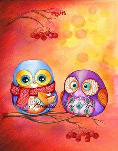 Buho Art  otoño otoño colores  pastel de calabaza  por AnnyaKaiArt, $18.00