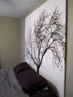 staple a shower curtain to a wooden frame for inexpensive large scale artwork. I WANT this tree!