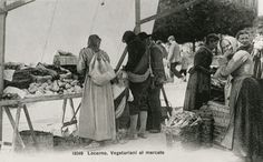 Vegeterianer på marknad omkring år 1900 Foto: Fondazione Monte Veritá