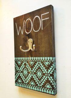 Dog Leash Holder Aztec Woof by thepetcottage on Etsy, $24.99