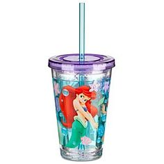 Disney The Little Mermaid Ariel Tumbler With Straw -- Small | Disney StoreThe Little Mermaid Ariel Tumbler With Straw -- Small - Glittering starfish drift in the water that swims around inside the double-walled sides of this Ariel Tumbler. Tough and durable, but made to look like a disposable plastic cup, this is sure to be a clear favorite with your little mermaid.