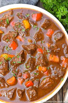 German Goulash (One Pot Comfort Food!) - - Wholesome ingredients and melt-in-your-mouth tender chunks of meat makes eating German goulash is an intense experience of awesome proportions. German Goulash, Beef Goulash, Goulash Soup Recipe German, Goulash Soup Recipes, Meat Recipes, Cooker Recipes, Oktoberfest Food, Comfort Food, Modern Kitchens