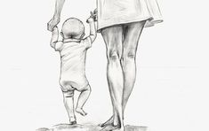 22 Ideas For Baby Drawing Sketches Mom Mommy Tattoos, Baby Tattoos, Drawing Sketches, Pencil Drawings, Art Drawings, Mother Art, Mother And Child, Arte Fashion, Baby Drawing
