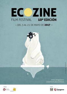Cartel 10ª edicion  Ecozine 2017 Titulo: Cine Polar. Autora: Diana Antolín Larrayad