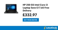 HP 250 G5 Intel Core i3 Laptop Save £17.65 Free Delivery, £332.97 at Ebuyer