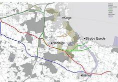 På kortet ses de forskellige linjeføringer for en statsvej, som Stevns og Køge…