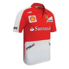 Part of the official 2013 Ferrari Puma Team Collection is this fantastic Team Polo Shirt.  The Ferrari Team Polo features the team and sponsor logos across the chest and sleeves in prints, embroideries and high quality badges, which include the title sponsor Santander. The Ferrari Puma team polo shirt has a three button placket with contrasting panels on the shoulders, sleeves and front with printed stripe detailing for a very smart yet casual look.