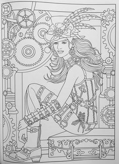 Adult Coloring Page From Creative Haven Steampunk Fashions Coloring Book Dover Publications