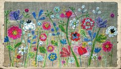 By lucy Levenson www.lucylevenson.com Freehand Machine Embroidery, Free Motion Embroidery, Machine Embroidery Applique, Applique Patterns, Embroidery Art, Fabric Cards, Crazy Patchwork, Fabric Pictures, Sewing Appliques