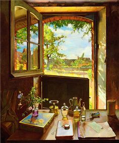 Open Door on a Garden 1934 - Konstantin Somov - WikiArt.org