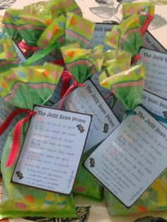 The Jelly Bean Poem- perfect to print out and give with a little pack of jelly beans for Easter!