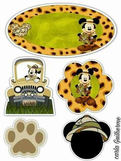 Fiesta en la selva Safari Party, Safari Theme, Mickey Minnie Mouse, Disney Mickey, Bolo Mickey Safari, Imprimibles Baby Shower, Mickey Baby Showers, Disney Printables, Disney Scrapbook Pages