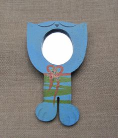 Cat Wall Hanging Mirror Whimsical Art Hand Made Blue Kitty Rose Flower Meyercord Decal Green Stripes Orange Ribbon Cat Lover Gift by WillowValleyVintage on Etsy