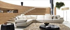 Divani Casa BQ-002 Modern Grey Leather Sectional