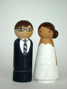 Custom Wedding Cake Peg Doll Toppers - Hand Painted Wood Peg Cake Toppers. $55.00, via Etsy.