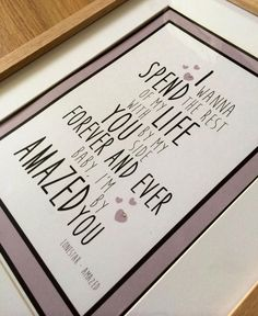 Lonestar - Amazed by You song lyric print.  Prices start at £12.50 without a frame or £19.50 with a frame plus £3 pp.   This is a perfect gift for your first wedding anniversary, a present to give your groom on your wedding day or as a birthday gift.  If you would like to order, please send me a message at https://m.facebook.com/BellsButtonPrints?__user=543297788 or through my website www.bellsbuttonprints.co.uk.