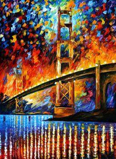 "San Francisco, Golden Gate, espátula California pared arte pintura al óleo sobre lienzo de Leonid Afremov. Tamaño: 36 ""X 48"" pulgadas"