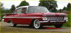 1959 Chevy Impala Four Door Sedan....the first car I remember Mom and Dad owning. Ours was black.