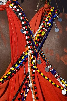 Africa | Details of the back of a Masai Warrior.  Kenya | © Darrel Gulin