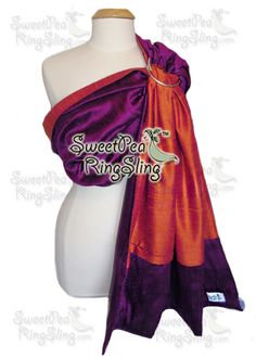 GorgeousSilk - SweetPea Ring Slings™ Magenta/Mandarin Dupioni Silk with added Pocket. Baby carrier Ring Sling Wrap Babywearing